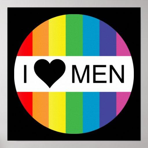 rainbow love. i heart men. poster