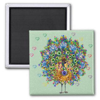 Rainbow Love Peacock Magnet