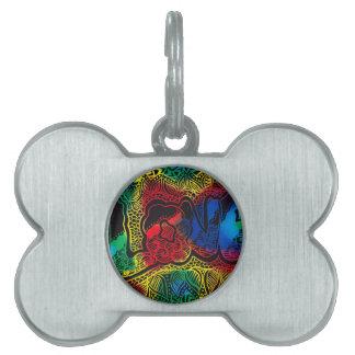 Rainbow love pet name tag