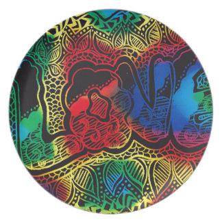 Rainbow love plate