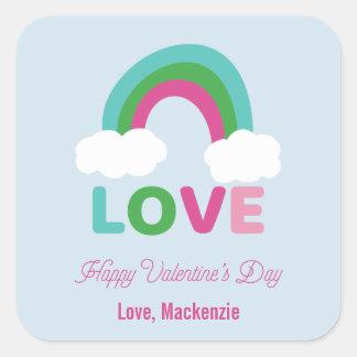Rainbow Love Valentine's Day Square Sticker