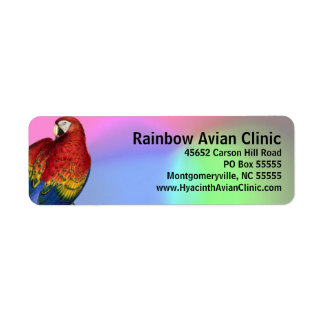 Rainbow Macaw with Colorful Background Return Address Label