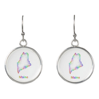 Rainbow Maine map Earrings