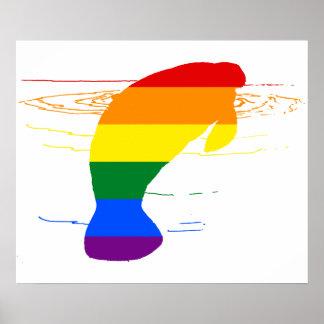Rainbow Manatee Poster