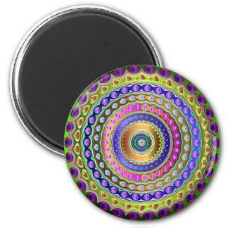 Rainbow Mandala 6 Cm Round Magnet