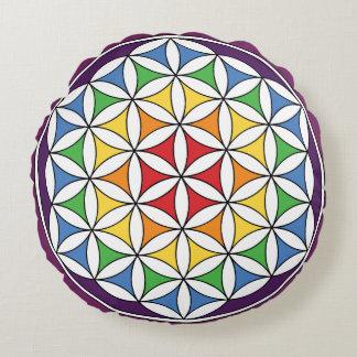 Rainbow Mandala Flower of Life Round Cushion