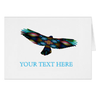 Rainbow Mandala Kaleidoscope Hawk in Flight Card