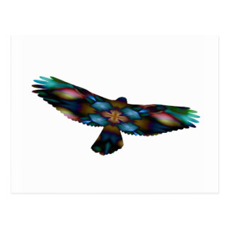 Rainbow Mandala Kaleidoscope Hawk in Flight Postcard