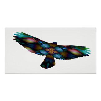 Rainbow Mandala Kaleidoscope Hawk in Flight Poster