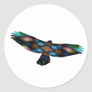 Rainbow Mandala Kaleidoscope Hawk in Flight Round Sticker