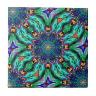 Rainbow Mandala Psychedelic Kaleidoscope Ceramic Tile