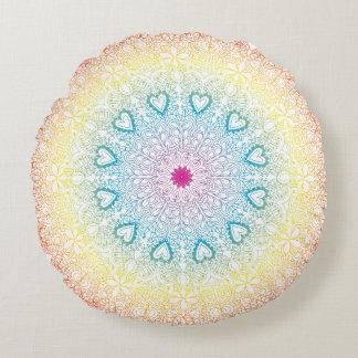 Rainbow Mandala Round Cushion