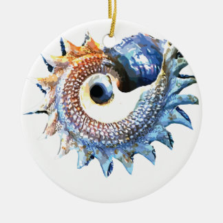 Rainbow Mandala Seashell Golden Spiral Yoga Tee Ceramic Ornament