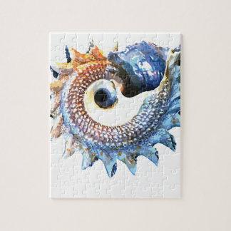 Rainbow Mandala Seashell Golden Spiral Yoga Tee Jigsaw Puzzle