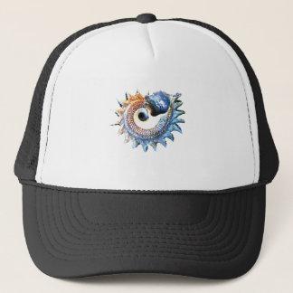 Rainbow Mandala Seashell Golden Spiral Yoga Tee Trucker Hat