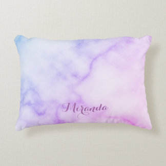 Rainbow Marble Pattern with Personalized Name Decorative Cushion