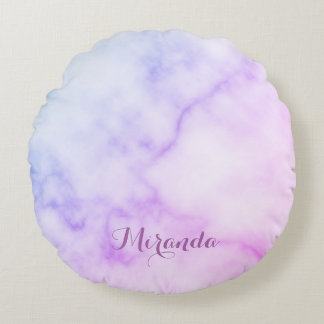 Rainbow Marble Pattern with Personalized Name Round Cushion