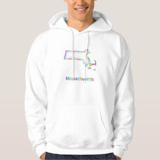 Rainbow Massachusetts map Hoodie