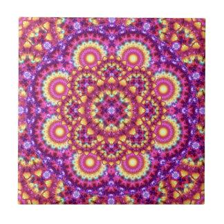 Rainbow Matrix Mandala Ceramic Tile
