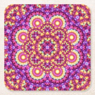 Rainbow Matrix Mandala Square Paper Coaster