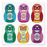 Rainbow Matryoshka Owls Poster