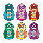 Rainbow Matryoshka Owls Poster Photo