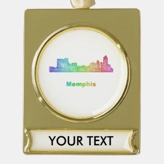 Rainbow Memphis skyline Gold Plated Banner Ornament