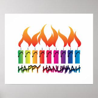 Rainbow Menorah Hanukkah Greeting Poster