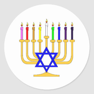 Rainbow Menorah Round Sticker