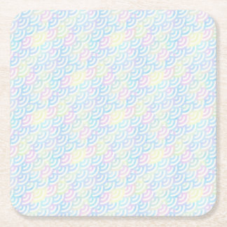 Rainbow Mermaid Pastel Square Paper Coaster