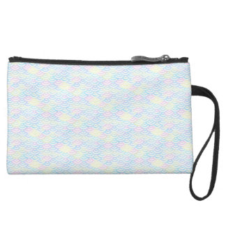 Rainbow Mermaid Pastel Suede Wristlet