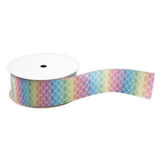Rainbow Mermaid Scales Ribbon Grosgrain Ribbon