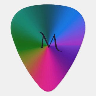 Rainbow Metallic Colors Monogram Guitar Pick