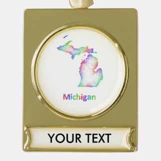 Rainbow Michigan map Gold Plated Banner Ornament