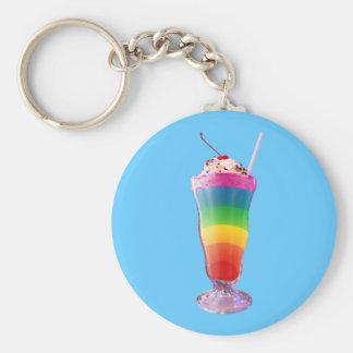 Rainbow Milkshake Basic Round Button Key Ring