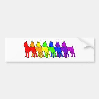 Rainbow Min Pin Bumper Sticker