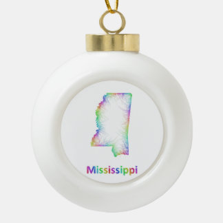 Rainbow Mississippi map Ceramic Ball Decoration