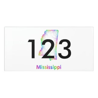 Rainbow Mississippi map Door Sign