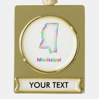 Rainbow Mississippi map Gold Plated Banner Ornament