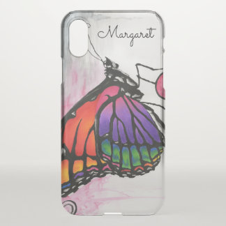 Rainbow Monarch Butterfly Original Fantasy Art iPhone X Case