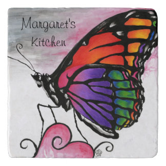 Rainbow Monarch Butterfly Original Fantasy Art Trivet