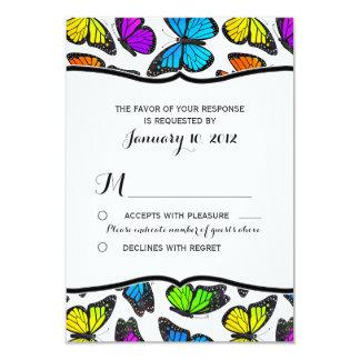 Rainbow Monarch Butterfly Wedding RSVP 9 Cm X 13 Cm Invitation Card