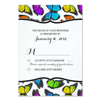 Rainbow Monarch Butterfly Wedding RSVP 3.5x5 Paper Invitation Card