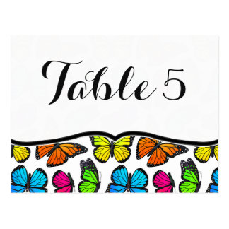 Rainbow Monarch Butterfly Wedding Table Number Postcard