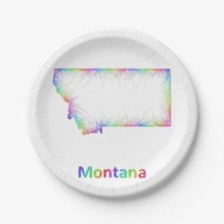 Rainbow Montana map 7 Inch Paper Plate