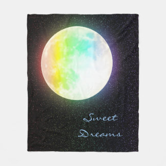 Rainbow Moon and Starry Night Sky Fleece Blanket