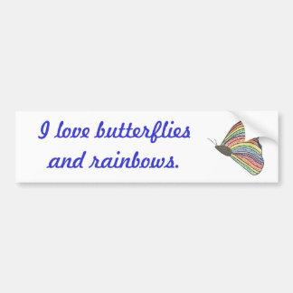 Rainbow Mosaic Butterfly I love butterflies Bumper Sticker