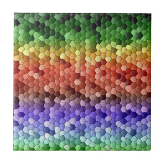 Rainbow Mosaic Small Square Tile