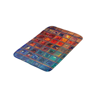 Rainbow Mosaic Tile Bold Bright Primary Color Red Bath Mats