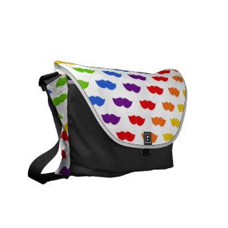 Rainbow Moustaches Courier Bag
